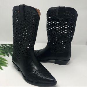 Vintage 1980's Nine West Black Cowboy Boots